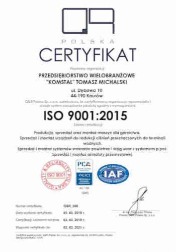 ISO 9001:2015 w firmie Komstal